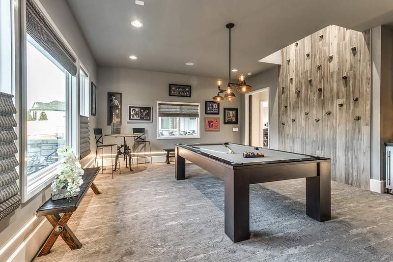 rec room furniture and games. Authentic Custom Homes As The Housing Market Recovers, Recreation Room Is Making A Comeback. This One, With Rock Climbing Wall And Pool Table, Rec Furniture Games