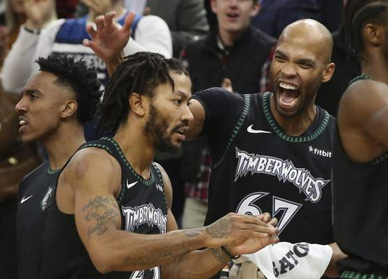 4d5d1954d27 ... Rose after the Timberwolves defeated the Utah Jazz 128-125 in an NBA  basketball game Wednesday, Oct. 31, 2018, in Minneapolis. Rose had a  career-high 50 ...