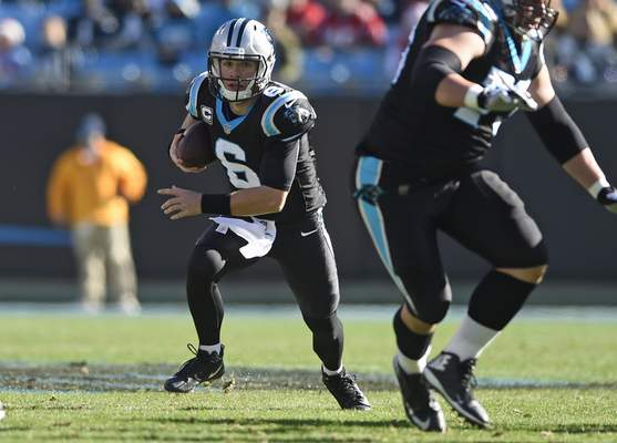 3d7623f94 Carolina Panthers  Taylor Heinicke (6) runs against the Atlanta Falcons  during the first half of an NFL football game in Charlotte