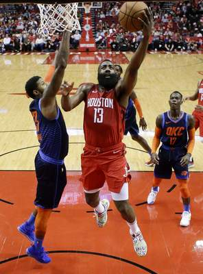 9bd59c32f59 Harden s 41 helps Rockets over Thunder 113-109