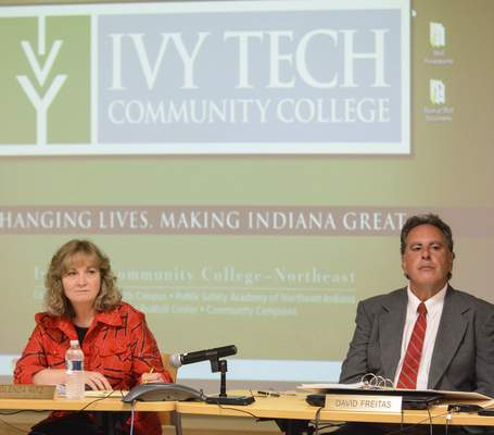 Glenda Ritz, left, Superintendent of Public Instruction for Indiana, and David Freitas, Second Congressional District, right, at Wednesday afternoon's State Board of Education meeting, held at Ivy Tech.