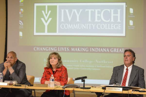 Troy Albert, left, Congressional District 9, Glenda Ritz, center, Superintendent of Public Instruction, and Dr. David Freitas, right, Second Congressional District, at Wednesday's State Board of Education meeting, held at Ivy Tech.