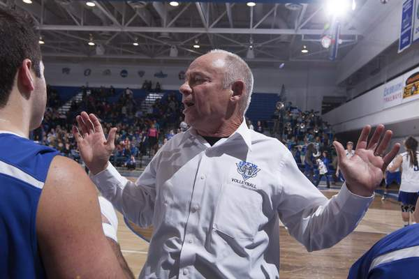 Courtesy IPFW IPFW men's volleyball coach Arnie Ball beginshis 34th and final season today in California when the Mastodonsplay in a tournament at UC Santa Barbara.