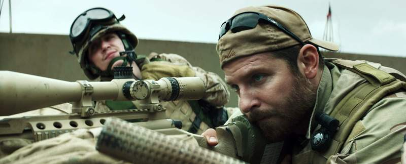 Associated Press In this image released by Warner Bros. Pictures, Kyle Gallner, left, and Bradley Cooper appear in a scene from American Sniper. The film is based on the autobiography by Chris Kyle.