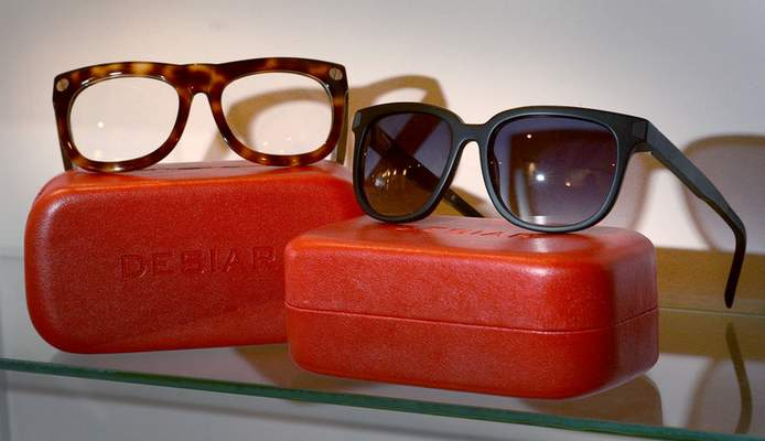 Samuel Hoffman | The Journal Gazette The F3 Tortise, left, with the black Colosseum, sunglasses by local designer Jamal Robinson, founder of Desiar Eyeware.
