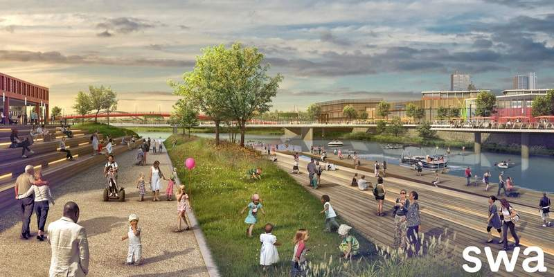 Courtesy SWA Group This conceptual artist's rendering shows a large, projected deck that would run along the north and south riverfront of the St. Marys River.The other side of the river would be used for development.
