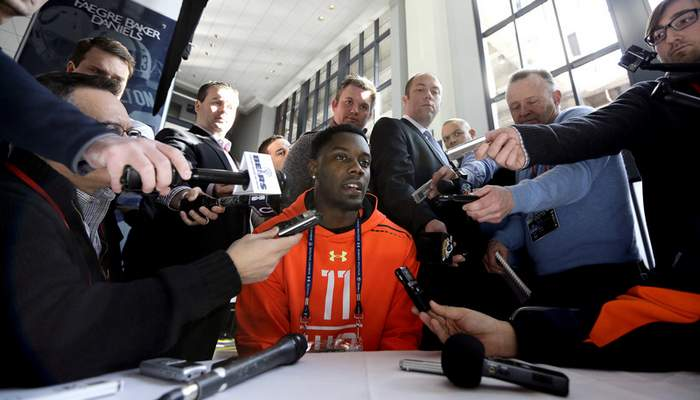 Associated Press Ex-Irish wide receiver DaVaris Daniels answers a question at a news conference Thursday at the NFL scouting combine in Indianapolis.