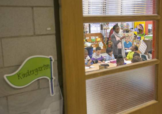 Esther Johnson teaches in the kindergarten class at Lutheran South Unity School.