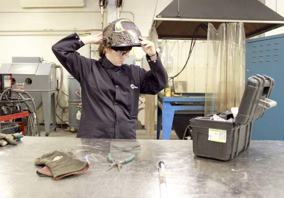 Rachel Von | The Journal Gazette Amy Kelham already has been offered jobs, typical of Ivy Tech welding students, but she isn't sure what welding route she'll take.