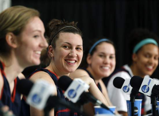 Dayton's Andrea Hoover speaks during a news conference for a women's college basketball regional final game in the NCAA Tournament on Sunday, March 29, 2015, in Albany, N.Y. Dayton is to play Connecticut on Monday. (AP Photo/Mike Groll)
