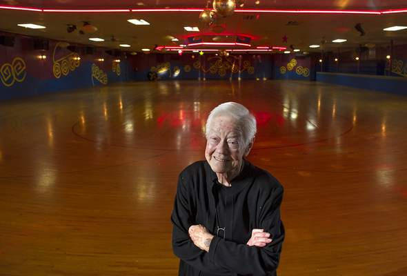 Swikar Patel/The Journal Gazette: Marg Wall, seen here in a 2012 file photo, has died at age 92 after running Roller Dome on Coliseum Boulevard since 1950.