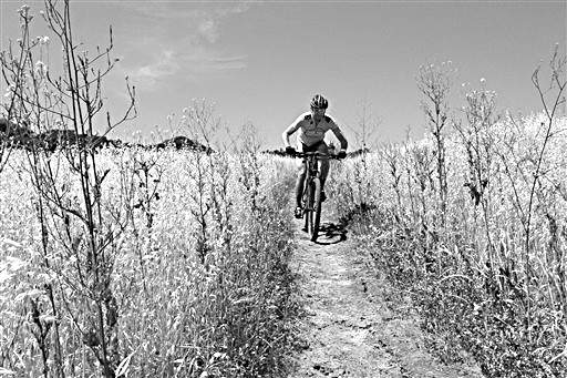 Associated Press  A mountain biker makes his way down a cracked path surrounded by dried-out vegetation in the foothills of Los Angeles.