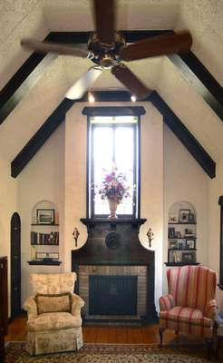 Photos by Samuel Hoffman | The Journal Gazette The home of Quinn and Jody Hirschy features a window over the fireplace in the main living area – part of the Storybook design craze of the 1920s and '30s.
