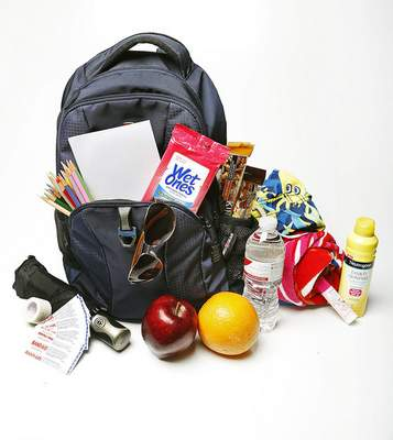 Photo illustration by Chad Ryan | The Journal Gazette Items one might carry in a backpack to spend a day at the festival. (Photo Illustration - Background extended digitally)