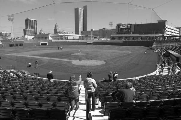 Fans check out the view of downtown during the Parkview Field open house, Saturday.