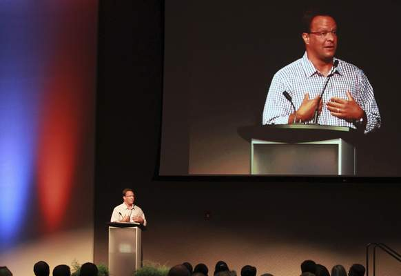 Rachel Von | The Journal Gazette Indiana men's basketball coach Tom Crean speaks at the Youth for Christ of Northern Indiana dinner event Sunday.