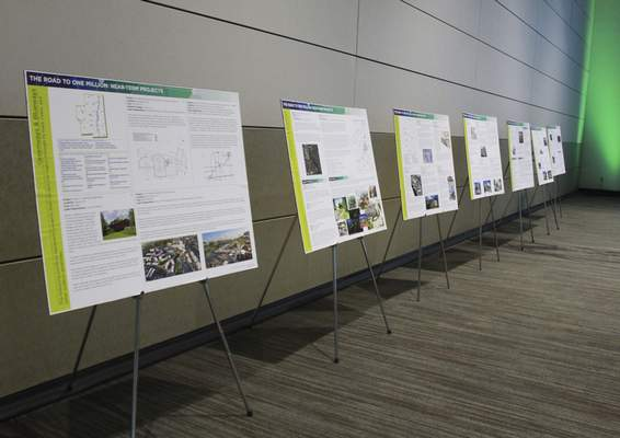 Rachel Von | The Journal Gazette Projects that are included in the proposal line the wall during a presentation and celebration for the Regional Cities Initiative at the Mirro Center for Research and Innovation, 10622 Parkview Plaza Dr, Fort Wayne, IN on Tuesday. GALLERY
