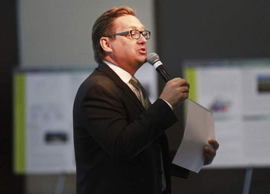 Rachel Von | The Journal Gazette Tim Pape speaks during a presentation and celebration for the Regional Cities Initiative at the Mirro Center for Research and Innovation, 10622 Parkview Plaza Dr, Fort Wayne, IN on Tuesday. GALLERY