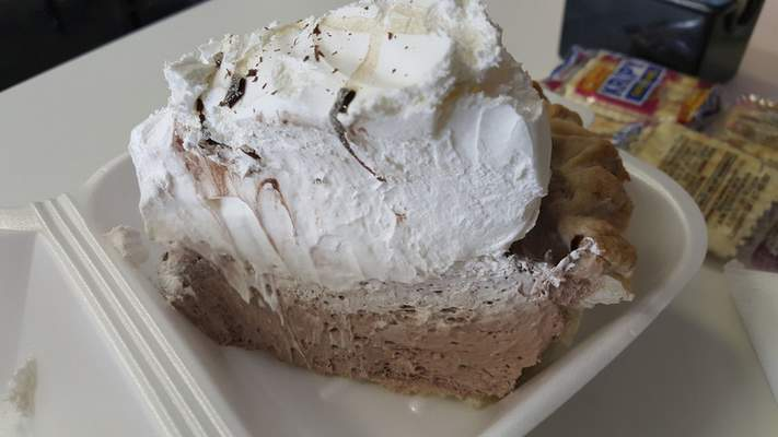 The chocolate cream pie at Chrome Plated Diner on Anthony Boulevard.