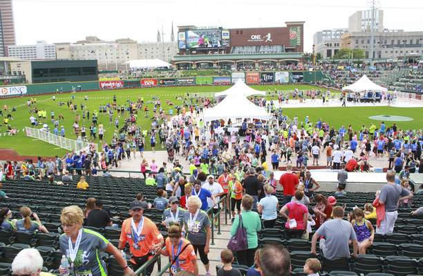 Rachel Von | The Journal Gazette Parkview Field was packed with runners and supporters during Saturday's Fort4Fitness.