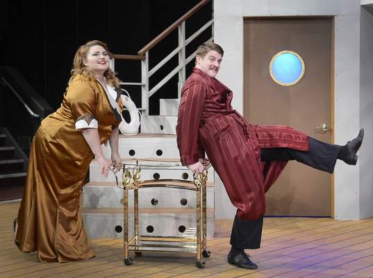 Samuel Hoffman | The Journal Gazette Anything Goes at IPFW: Reno Sweeney (Darby LeClear) give a shove to Lord Evelyn Oakleigh (Brock Graham)