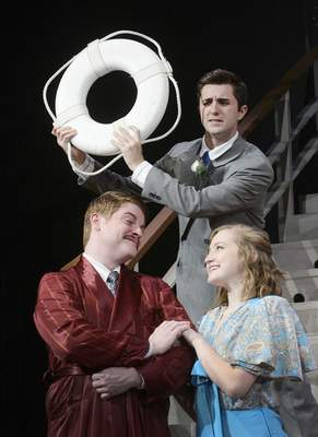 Samuel Hoffman | The Journal Gazette Anything Goes at IPFW: Billy Crocker (Brady Schrock), top, tries to stop the wooing of Hope Harcourt (Brooke O'Mara) by Lord Evelyn Oakleigh.