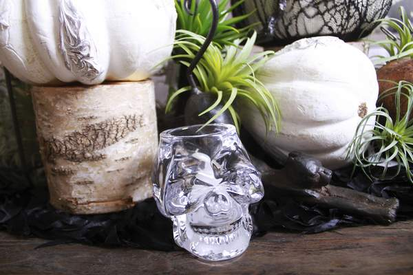 Rachel Von | The Journal Gazette The chic steam punk Halloween display includes a glass skeleton head at Choice Designs, 3223 Carroll Rd. Fort Wayne, IN on Monday.