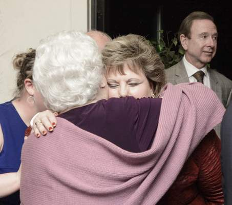 Michelle Davies | The Journal Gazette Lana Keesling gets a hug from her 90-year-old mother, Ruth Tansy, after winning the position of Fort Wayne city clerk in Tuesday's election over Democrat Angie Davis.
