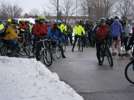 Courtesy Over 100 cyclists showed up to last year's Chilly Challenge on New Year's Day put on by Three Rivers Velosport and the Fort Wayne Parks and Recreation Department. The annual event rides the Rivergreenway around the city and stops at Johnny Appleseed to watch the Polar Plunge.