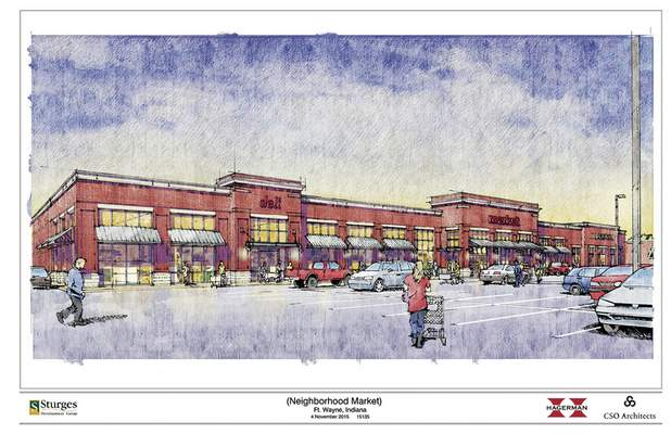 Courtesy An artist's rendering of the proposed market at North Anthony Boulevard and Crescent Avenue