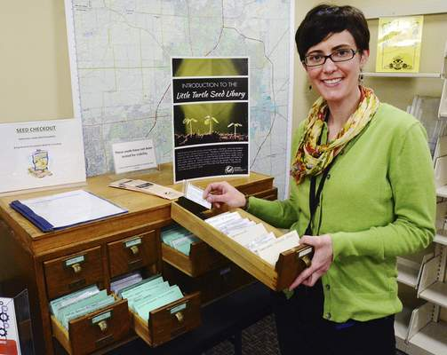 Little Turtle library Director Carla Bauman has started a seed bank or seed library where people can check out garden seeds for free. Bauman and volunteers have packaged bulk seeds for the seed bank, which is in an old card catalog.
