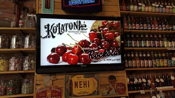 Adam and Rebecca Hanson, owners of Antiqology in Huntington, purchased the rights to Kolatona Beverage Works, a company that began in Huntngton in 1894. They have it on draft with two varieties daily, including the signature Rockola, a vanilla cream with a kick of fruity flavor.
