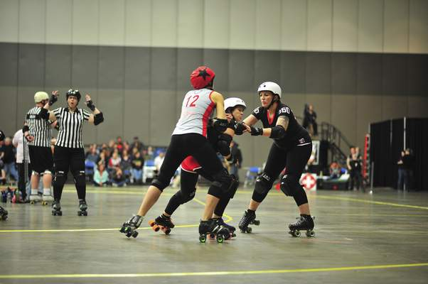 Photo courtesy of Caitlin Crowley Erin Sheets and teammate #3 Blondie block #12 'E2 Brute'.
