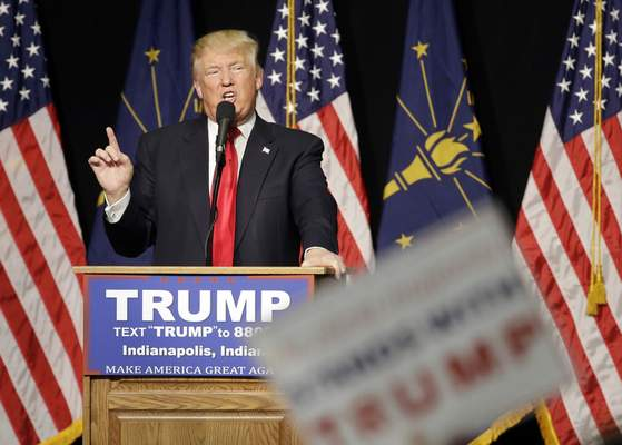Darron Cummings/Associated Press   Republican presidential candidate Donald Trump speaks during a campaign stop Wednesday in Indianapolis.