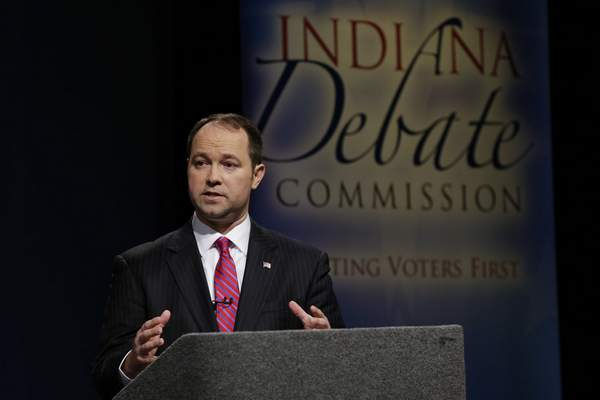 Indiana Republican candidate for U.S. Senate Marlin Stutzman speaks during a debate with Todd Young in Indianapolis, Monday, April 18, 2016. (AP Photo/Michael Conroy)
