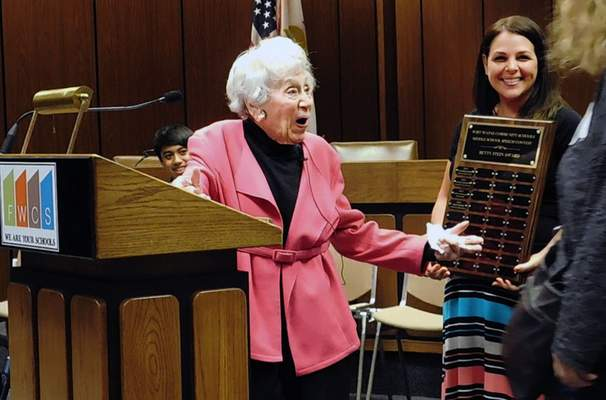 Jamie Duffy | The Journal Gazette Retired teacher and longtime volunteer Betty Stein was honored after the FWCS Middle School Speech Contest on Tuesday at Grile Administrative Center.