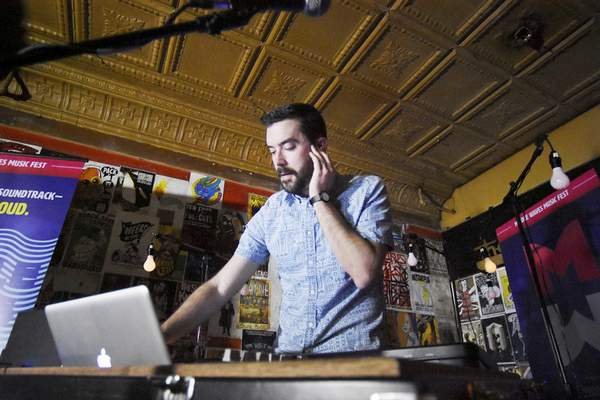 Rachel Von   The Journal Gazette Metavari's Nate Utesch performs during the Middle Waves Music Festival kickoff event at The Brass Rail in Fort Wayne on Thursday.
