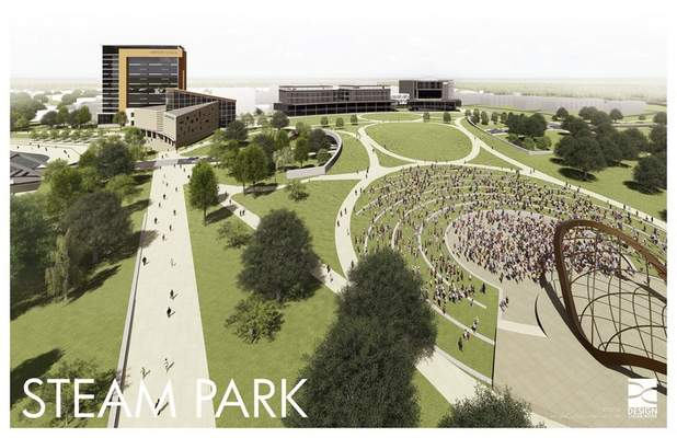 Courtesy of Greater Fort Wayne Inc. This artist's rendering shows the outdoor area of the proposed STEAM Park, part of Greater Fort Wayne's idea for new downtown attractions.