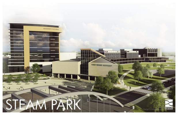 Courtesy of Greater Fort Wayne Inc. This artist's rendering of STEAM Park shows the proposed aquarium alongside residential space. The park may eventually connect to other attractions.