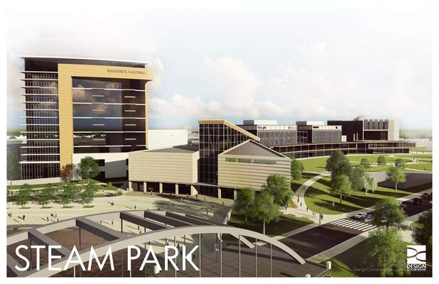 An artist's rendering of STEAM Park shows the proposed aquarium alongside residential space.
