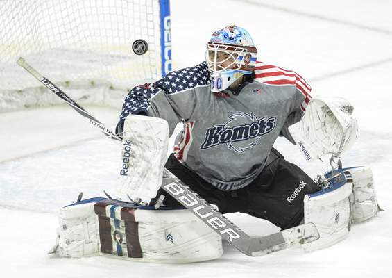 Chad Ryan | The Journal Gazette The Komets are hoping ECHL teams will be able to carry an extra goalie in case NHL prospects such as Spencer Martin are called up.