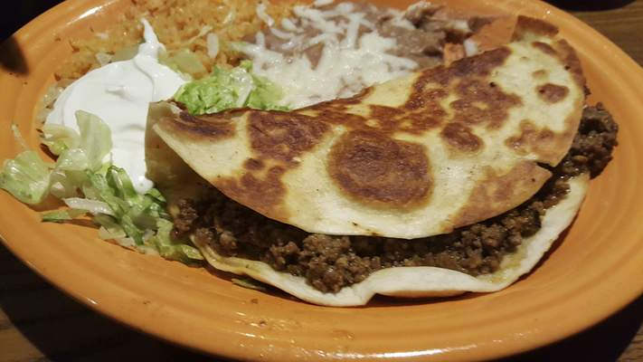 A ground beef Quesadilla Rellena from Agaves Mexican Grill at Chapel Ridge.