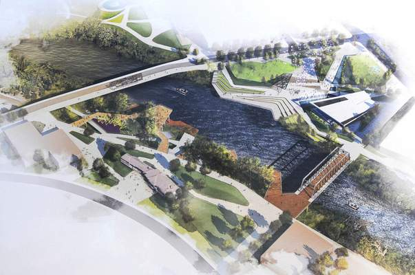 An aerial view illustration shows the downtown Riverfront development project from the northwest.