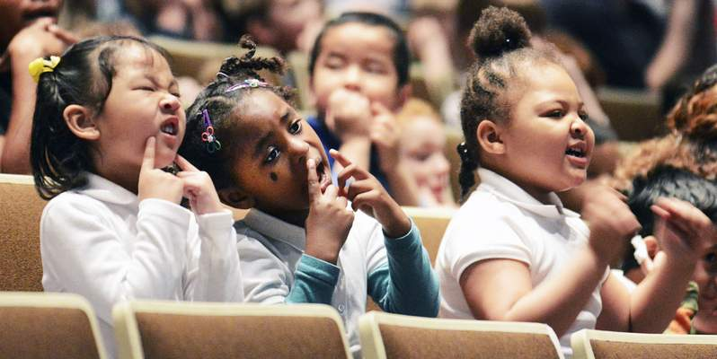 File: Harrison Hill pre-kindergarten students take part in a song at Arts United Center in April.
