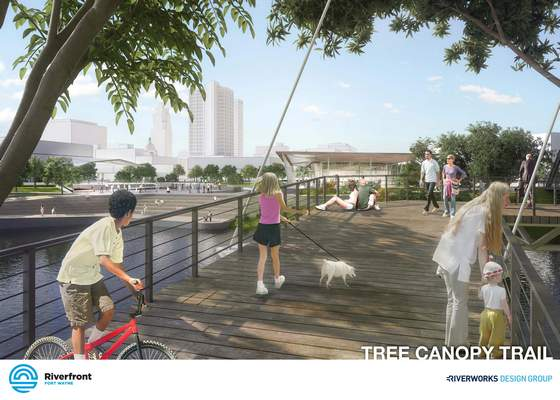 Courtesy: Artist conception of a tree canopy area that is part of proposed riverfront development.