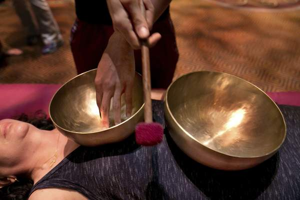 Associated Press Himalayan singing bowls are used in a spa treatment that lasts for an hour. The bowls can also be purchased for home use.