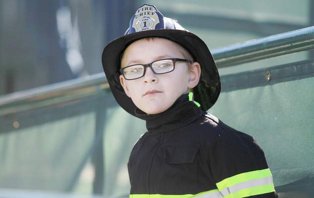 David Plummer, 7, takes in his surroundings during the 9/11 Memorial Stair Climb. During the event, participants walked up and down the stairs.