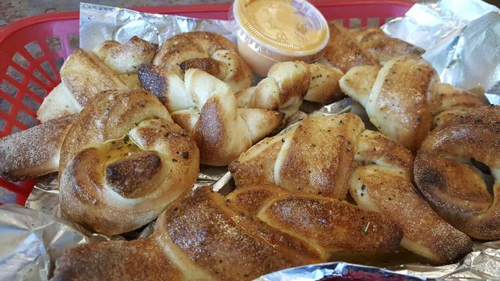 Garlic dough knots from Amore's Pizza on Dupont Road.