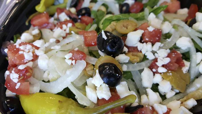 Greek salad from Amore's Pizza on Dupont Road.