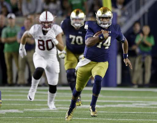 Associated Press Quarterback DeShone Kizer was benched for three possessions against Stanford, but coach Brian Kelly reiterated that Kizer is the starter.